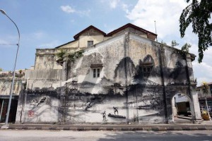 One of Ernest Zacharevic's new murals in Ipoh. Photo courtesy of Ernest Zacharevic.