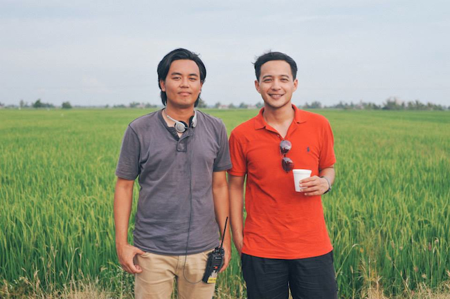 Redza Minhat (right) with Nik Amir Mustapha on the set of Terbaik Dari Langit.